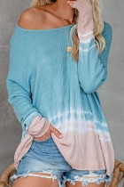 Dokifans Dew Shoulder Tie-dye Loose Blue Blouse