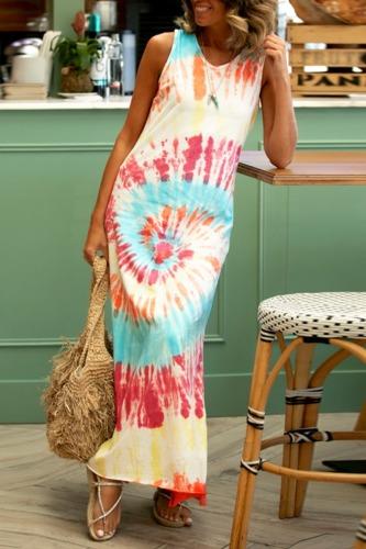 Dokifans Tie-dye Print Loose Multicolor Maxi Dress