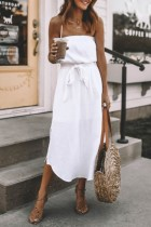 Dokifans Dew Shoulder Knot Design White Midi Dress