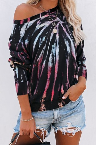 Dokifans Dew Shoulder Tie-dye Print Sweatshirt (3 Colors)