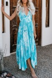 Dokifans Tie-dye Print Backless Multicolor Maxi Dress