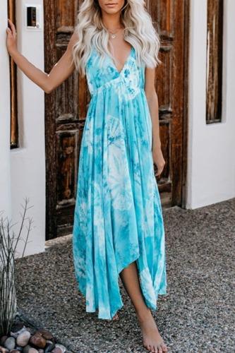 Dokifans Tie-dye Print Backless Multicolor Maxi Dress