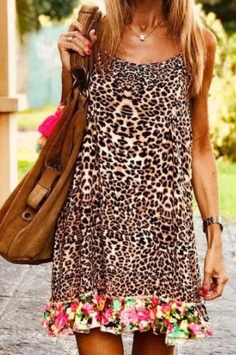 Dokifans Leopard Print Ruffled Floral Mini Dress