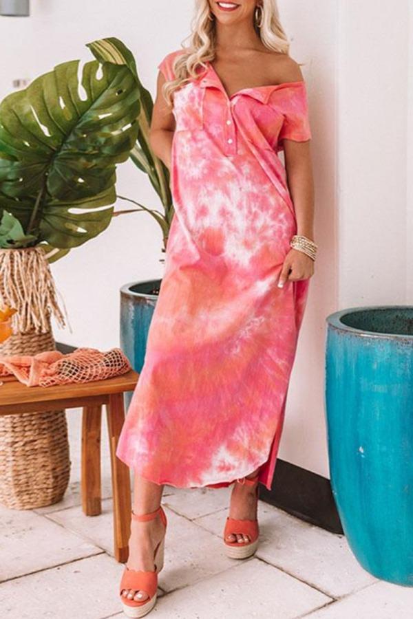 Dokifans Tie-dye Buttons Design Multicolor Maxi Dress
