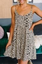 Dokifans Leopard Print Light Camel Mini Dress