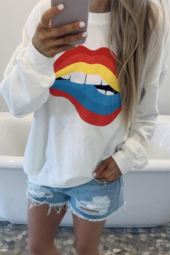 Dokifans Lip Print Loose White Sweatshirt
