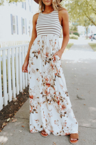 Dokifans Striped Floral Print Patchwork White Maxi Dress (3 Colors)