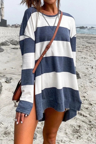 Dokifans Striped Side Slit Blue Sweatshirt