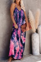 Dokifans Tie-dye Pritnt Backless Pink Maxi Dress