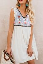 Dokifans Boho Print Ruffled Patchwork White Dress