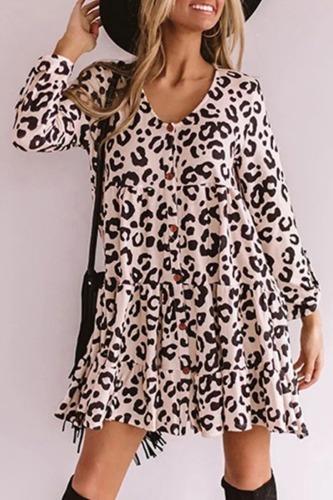 Dokifans Leopard Print Ruffled Button Design Mini Dress