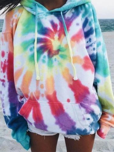 Dokifans Elephant Tie-dye Print Multicolor Hoodie