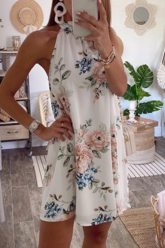 Dokifans Halter Floral Print White Mini Dress