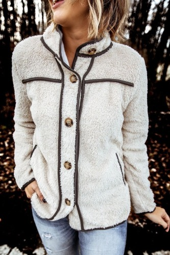 Dokifans Turndown Collar Buttons Creamy White Coat (3 Colors)
