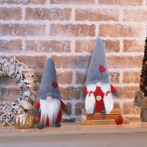 2 Pcs Scandinavian Tomte Nordic Plush Elf Toy Christmas Table Ornament Home Christmas Decorations HMASYO Handmade Couple Christmas Swedish Gnome Plush Red-Plush 8 Inch