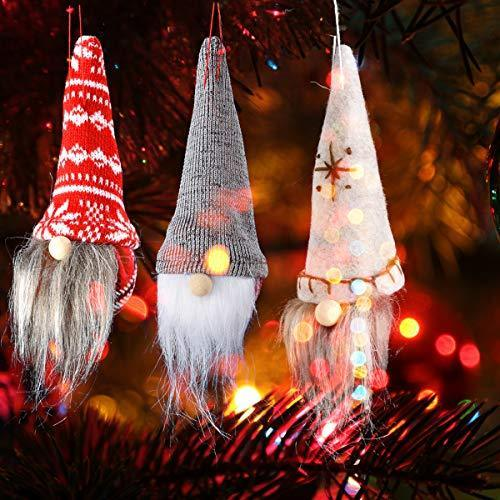 Esther Beauty Christmas Tree Hanging Goblin Ornaments Handmade Plush Santa Claus Family Holiday Decoration Pendant Set of 6