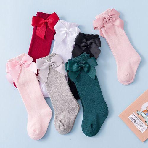 Kids Girls Socks With Bows Knee High Princess Socks For Girl Cute Newborn Baby Cotton Sock Long Tube Bow Children Socks