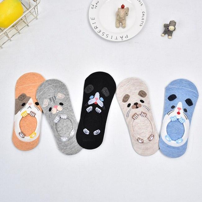 5 Pairs/lot Summer Cotton Ankle Socks For Korea Women's Cartoon Animal Cat Panda Pig Short Socks Female Sokken Slippers Meias