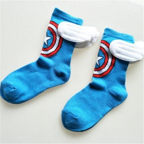 1 Pair New All Season Kids Cotton Character Marvel Socks Super Hero Pattern Handmade Clock Sewing Dance Baby Socks
