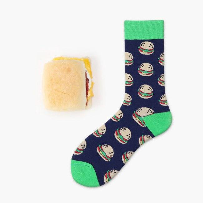 Women Socks Funny Cute Cartoon Fruits Banana Avocado Lemon Egg Cookie Donuts Food Happy Japanese Harajuku skateboard  Socks