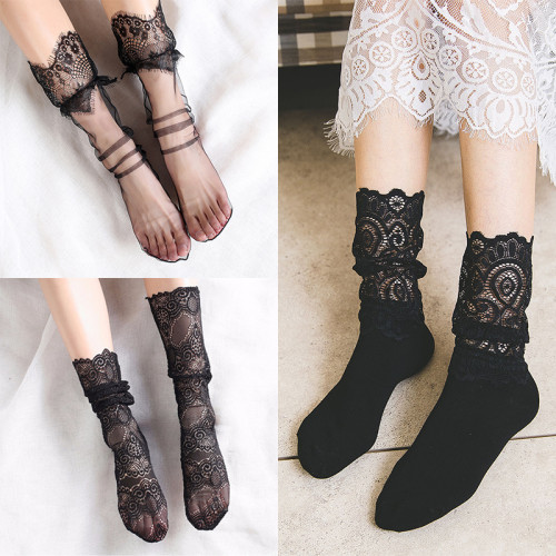 Sale Sexy Retro Lace Floral Mesh Women Girl Socks Elastic  Summer Fashion Lady Transparent Short Socks