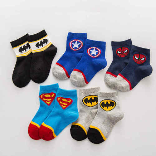 5 Pairs Baby Boy Socks Cartoon Marvel Iron Man Superman Spiderman Batman Super Hero Kid Girl Cotton Socks Summer Thin Breathable