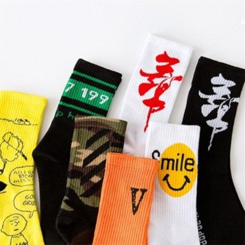 2020 Creative High Quality Fashion Men's Hip Hop Cotton Unisex Harajuku Men's Happy Socks Funny Skate Socks