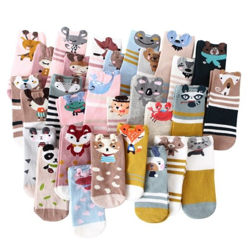 5 Pairs Kids Autumn Winter Socks Fashion Cotton Cartoon Animal Print Socks Soft Lovely Cute Socks for Girls Toddler Boys Socks