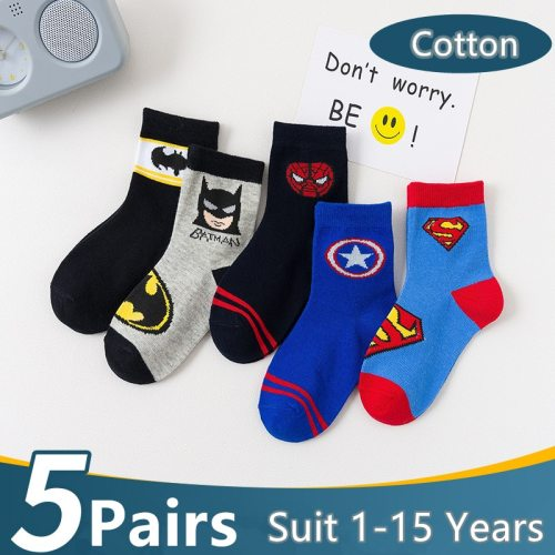 5 Pairs/Lot Cotton Kids Socks Breathable Cartoon Spiderman Superman Fashion Baby Boys Girls Socks For 1-15 Years