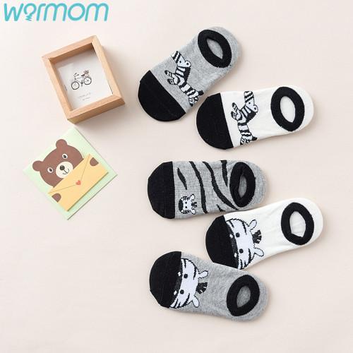 WARMOM 5 Pair Children Short Socks Cartoon Zebra Pattern Soft Cotton Kids Socks Printed Knitting Socks Maternal Infant Supply