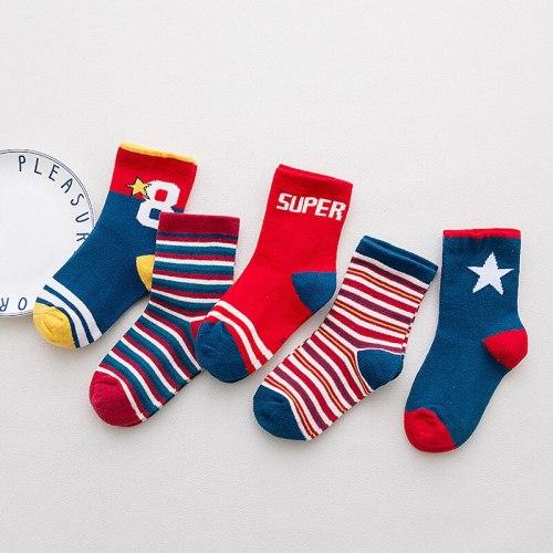 5 Pair/Lot Kids Soft Cotton Socks Boy Girl Baby Cute Cartoon Warm Stripe Smiley Fashion Sport Socks Autumn Winter Children Gift