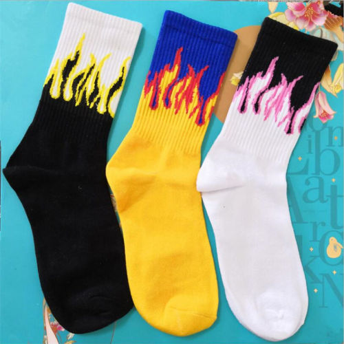 1 pair Men Fashion Hip Hop Hit Color On Fire Crew Socks Red Flame Blaze Power Torch Hot Warmth Street Skateboard Cotton Socks