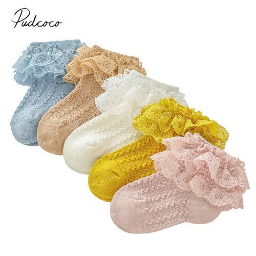 2020 Baby Stuff Kids Baby Girl Frilly Warm Lace Tutu Socks Infant Newborn Toddler Lace Ruffled Solid Ankle Socks