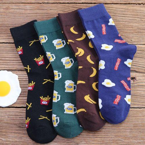 Snack pattern Harajuku hip hop socks men's funny combed cotton dress casual art socks colorful novelty skateboard mens socks