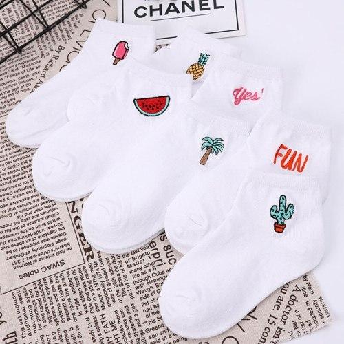 Children's cotton socks Cute Cartoon fruit embroidery socks comfortable cartoon socks kids socks Children's socks baby socks
