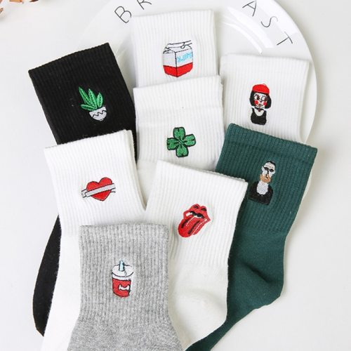 New Harajuku Women's Socks Japan Retro Embroidery Rose Cactus Cotton Literary Funny Socks for Female Gift