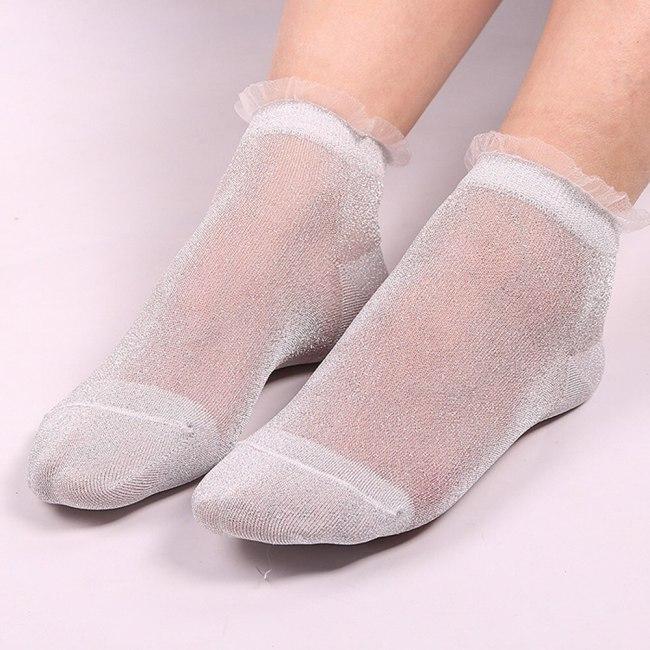 Lace boat socks Casual Socks Women Summer Sheer Silky Glitter Transparent Long Ankle Socks Elegant Of Fresh Women Summer Socks