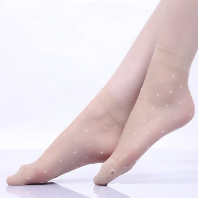 20Pcs=10Pair/Lot US$0.15Pair Hot Sale Cool Breathable Summer Style Sexy Black Skin Socks Pure Color Dots Women Girls Nylon Socks