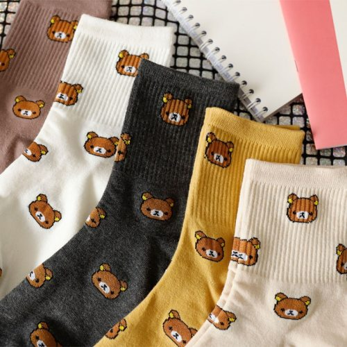1 Pair of Cute cartoon women's pure Cotton socks cute and Fashionable bear socks five Colors of pure Cotton Female socks