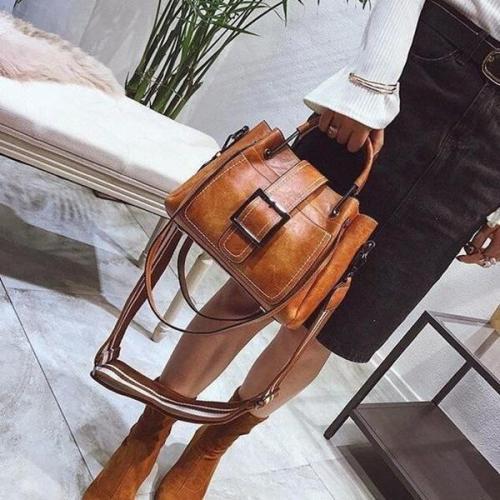 Large Capacity Retro Buckle Bucket Shoulder Bag Tote Bag