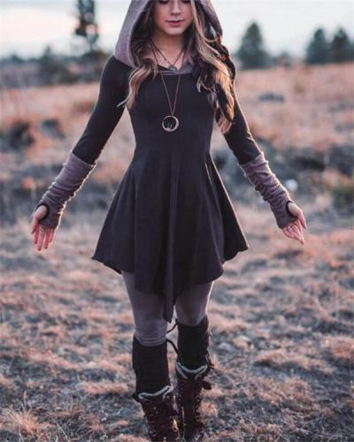 Women Stitching Long Sleeve Hooded
