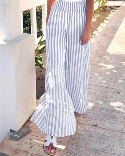 Women Casual Striped Plus Size Wide Leg Pants