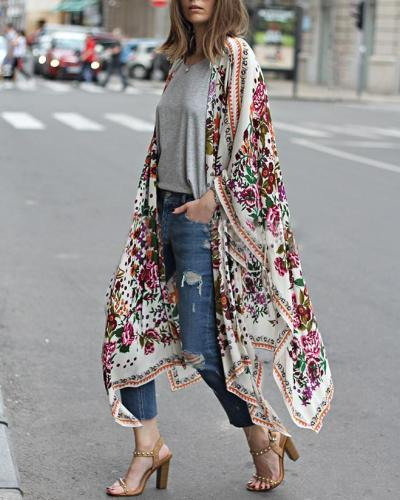 Fall Vintage Cardigan Outwear Floral Printed Women Daily Shirts & Tops