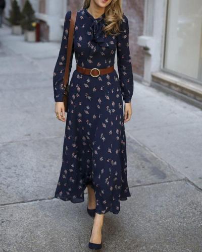 Casual Long Sleeve Printed Colour Elastic Maxi Dresses