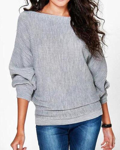 Casual Bateau/boat Neck Cotton Sweater
