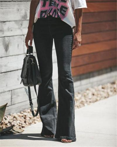 Women's  Vintage Solid Bell-Bottoms Slim Denim Wear Pants