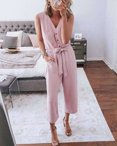 Solid Pink Jumpsuits Pockets Button Sash Rompers