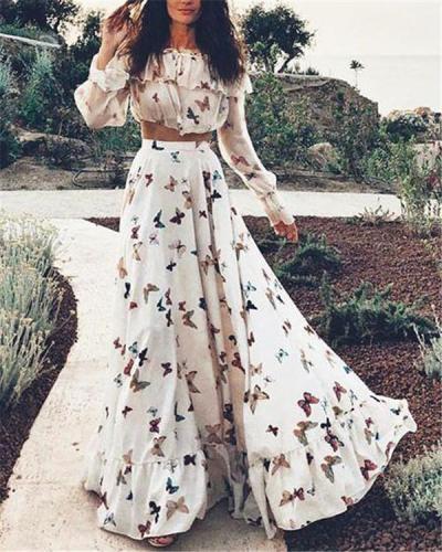 Random  Butterfly Printed Off Shoulder Fashion Summer Beach Dresses