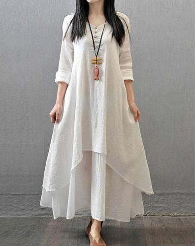 Vintage Women Long Sleeve V-Neck Irregular Maxi Dresses