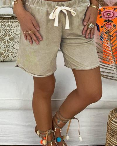 Casual Daily Cotton Raw Solid Plus Size Pants